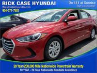 2017 Hyundai Elantra SE  in Red and 20 year or 200,000
