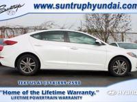 White Pearl 2017 Hyundai Elantra SE FWD 6-Speed