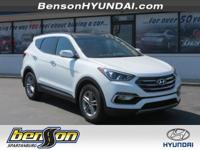 Santa Fe Sport 2.4 Base, FWD, Frost White, and Beige.