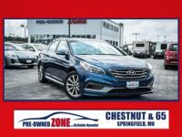 2017 Certified, Hyundai Sonata Limited in Blue with