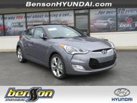 Veloster Value Edition, 3D Hatchback, Gray, and Black.
