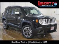 Clean CARFAX. Black 2017 Jeep Renegade Limited 4WD