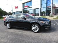 Clean CARFAX. Ebony Black 2017 4D Sedan Kia Optima EX