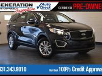 Certified. Black 2017 Kia Sorento LX AWD 6-Speed
