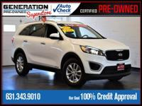 New Price! Certified. Snow White Pearl 2017 Kia Sorento