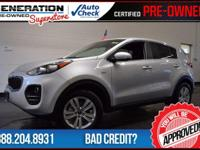 Kia Certified and 2017 Kia Sportage. AWD! Gasoline!