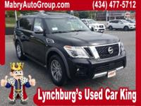 Clean CARFAX. Super Black 2017 Nissan Armada Platinum