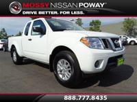 Frontier SV I4, Nissan Certified, Glacier White, and