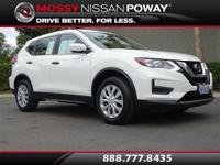 Rogue S, Nissan Certified, and Glacier White. Nice SUV!