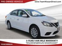Clean CARFAX. White 2017 Nissan Sentra S FWD CVT with