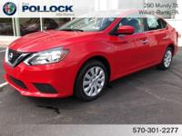 Clean CARFAX. Red Alert 2017 Nissan Sentra SV CVT with