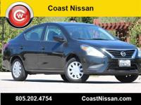 CARFAX One-Owner. Black 2017 Nissan Versa 1.6 S FWD