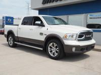Clean CARFAX. White 2017 Ram 1500 Laramie 4WD 8-Speed