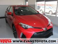 Clean CARFAX. Certified. RED 2017 Toyota Corolla SE FWD