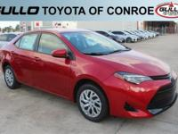 Red 2017 Toyota Corolla LE 36/28 Highway/City MPG