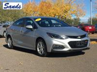 Clean CARFAX. Silver Ice Metallic 2017 Chevrolet Cruze