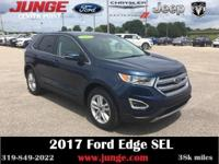 Certified. Blue 2017 Ford Edge SEL AWD 6-Speed