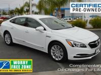 Clean CARFAX. Certified. Summit White 2018 Buick