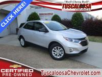 Certified. This 2018 Chevrolet Equinox LS in Silver Ice