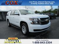 This 2018 Chevrolet Suburban LT in White is well