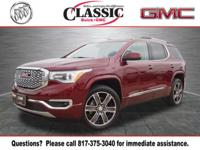 Clean CARFAX. Crimson Red 2018 GMC Acadia Denali FWD