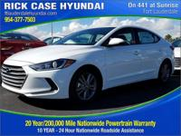 2018 Hyundai Elantra SEL  in White Pearl and 20 year or