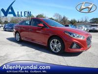 2018 Hyundai Sonata Sport Scarlet Red Black Leather.