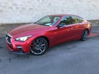 Certified. Dynamic Sunstone Red 2018 INFINITI Q50 Red