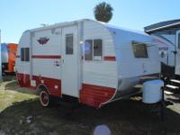 Retro style travel trailer with one slide for extra