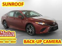 2018 Toyota Camry SE Ruby 39/28 Highway/City MPG Come