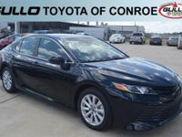 Black 2018 Toyota Camry LE 39/28 Highway/City MPG  Let
