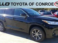 Black 2018 Toyota Highlander XLE 26/20 Highway/City MPG