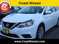 White 2019 Nissan Sentra S FWD CVT with Xtronic 1.8L