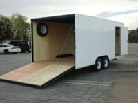 "8x20 2 axles Spare tire included Side door is 36"" 6 d"