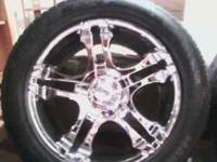 Four 20inch chrome American Racing Rims on Hankook