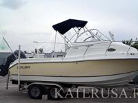This premium walkaround sport fishing boat features a