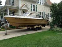The boat is all set up for lake Michigan trolling. Down