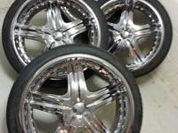 22'' CHROME WHEELS W/TIRES  5 LUG UNIVERSAL  LOW
