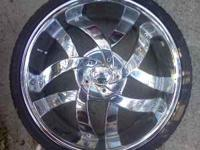 """22"" Chrome wheels and tires for sale $1000.00. These"