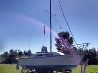 22 foot sailboat with shoreline trailer, 4.5 hp