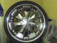 22 inch ferrettis, no scratchs. 1 brand new tire