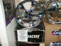 I have a brand new set of 22 inch Mirrror Beveled rims.