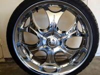 "Selling these four 22"" rims with tires. (Universal 5"