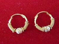 a) 22 Karat Gold Indian Hoop Earrings (small size 1/2'