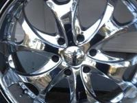 "Selling 22"" PACER CHROME RIMS (6 lug each), with"