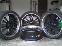 "Four 22"" Rims and 1-1/4"" spacers for sale with three"