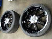 set of milanni 22s and tires, they are freshly powder