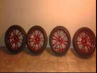 "22"" manager 313 tires and wheels. Red spokes with black"