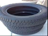 Set of three big O euro tour tires for sale. 98 percent