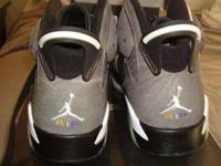 HERE IS A BRAND NEW DS JORDAN six BLACK/PURPLE/WHITE/